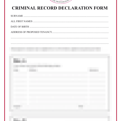 Criminal record declaration application for tenancy