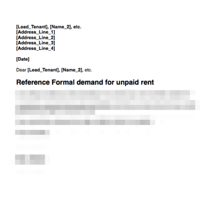 Rent demand first letter