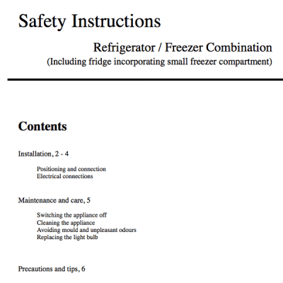 Generic instructions for a fridge freezer