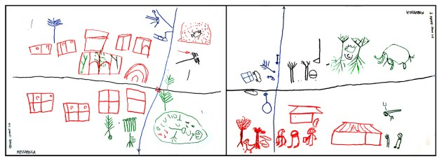 Drawings by a group of BaAka pygmies in the Central African Republic. The drawing on the left shows their current situation. The drawing on the right depicts their hopes for the future, with wildlife, a school and forest products playing an important role. Agni Klintuni Boedhihartono