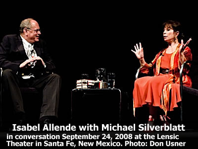 Isabel Allende in conversation with Michael Silverblatt at the Lensic Theater in Santa Fe, New Mexico, Wednesday, September 24, 2008. Photo: Don Usner