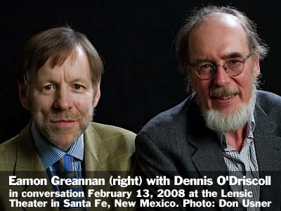 Eamon Grennan (right) in conversation with Dennis O'Driscoll at the Lensic Theater in Santa Fe, New Mexico, Wednesday, February 13, 2008. Photo: Don Usner