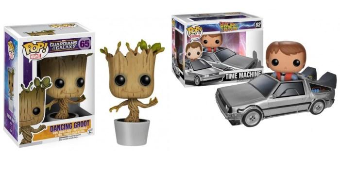 Funkos de Groot de 'Guardianes de la Galaxia' y de Marty McFly con el Delorean de 'Regreso al futuro'.