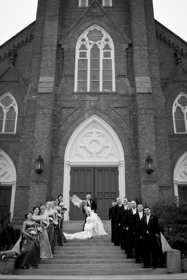 church bridal party portrait