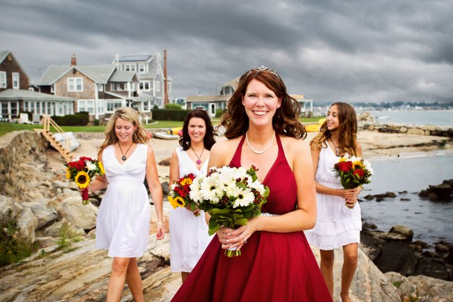 casual beach wedding bridesmaids and bride portrait
