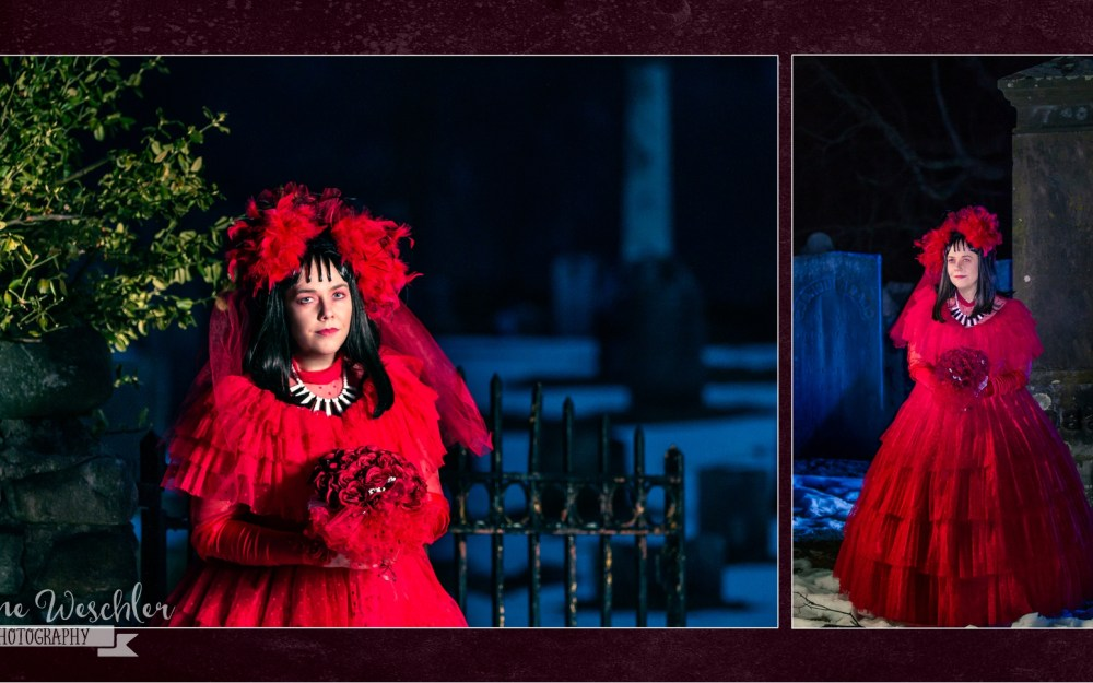 Victoria Vine in Lydia from Beetlejuice cosplay in Naugatuck, Connecticut graveyard