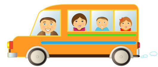 cartoon cheerful family moving in funny bus