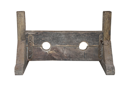 A Wooden Set of Medieval Punishment Stocks.