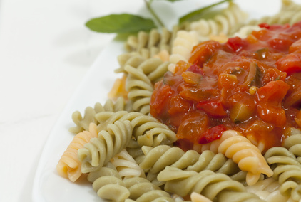 Chunky ratatouille and pasta