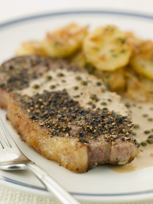 peppered steak with parsley potatoes