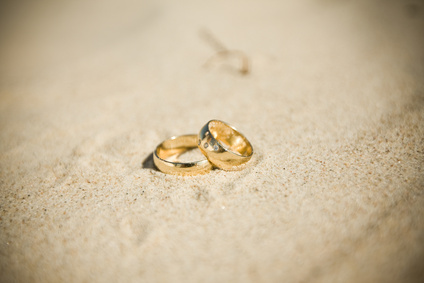 wedding rings on beach