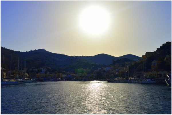 Symi sunset over harbour