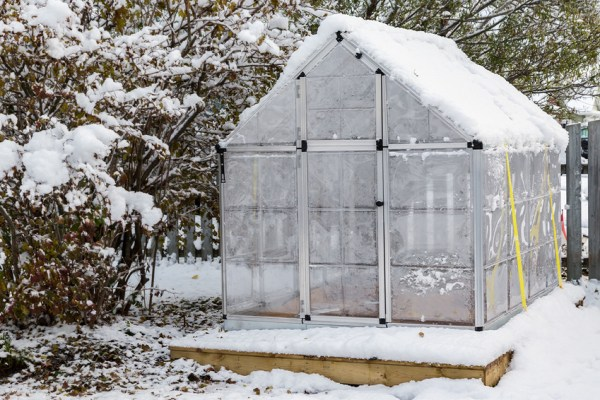 Home Greenhouse after a snowfall