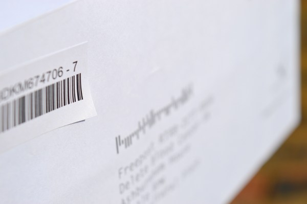 Stick the second barcode onto the front of the Freepost envelope