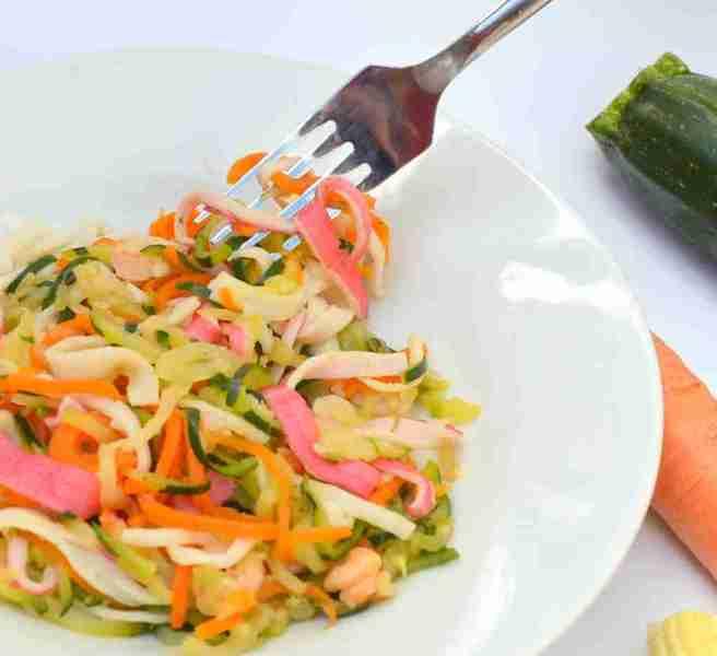 10 Chilli seafood veg linguine with fork