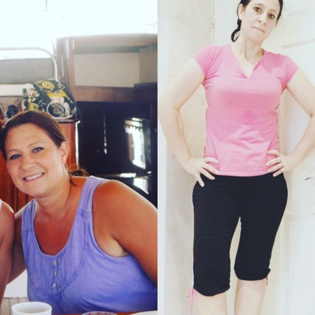 Tania 60lbs down before and after January 2016