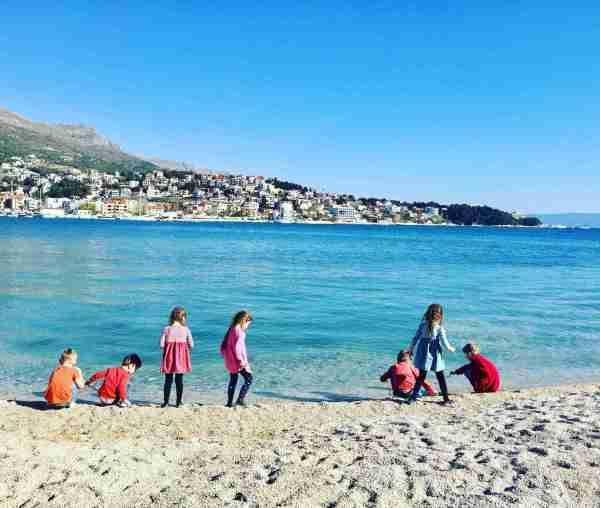 croatia camping split kids on beach