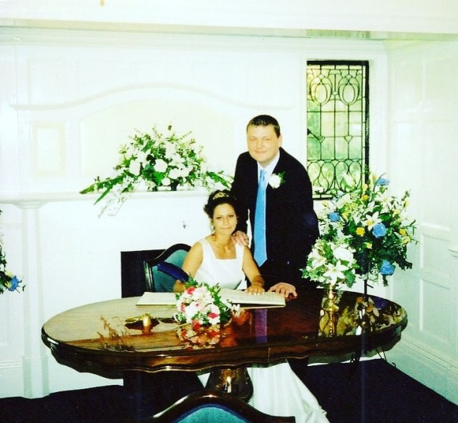 me and mike wedding day may 2002
