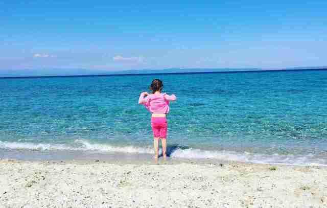 Halkidiki Kassandra Anna cooling on beach