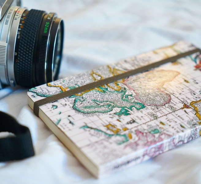 camera and map notebook
