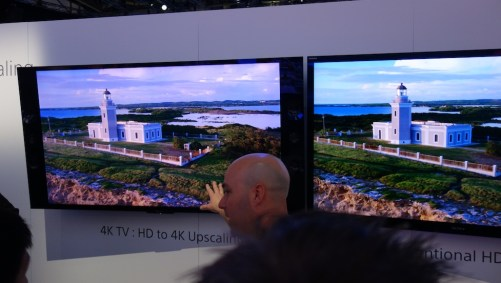 To demonstrate the immediate value of its 4K sets, Sony showed the same 1080p program on 4K and standard 1080 sets