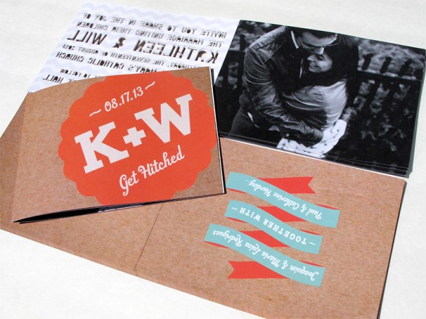 Fourth photo of laser cut font/letter cutout wedding invitation booklet