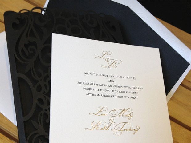 Picture number three of custom black chantilly lace laser cut invitation pockets or sleeves 3