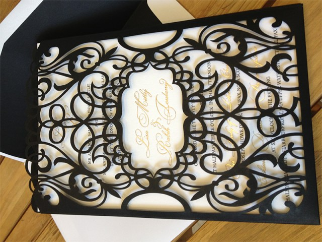 Picture five of six of custom black chantilly lace laser cut invitation pockets or sleeves 5