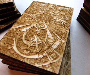Laser cut and laser engraved wood print by Laura Boreal Isis 6