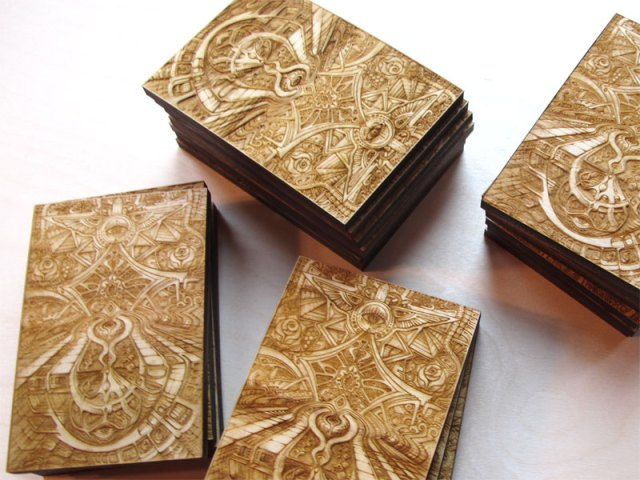 Laser cut and laser engraved wood print by Laura Boreal Isis 3