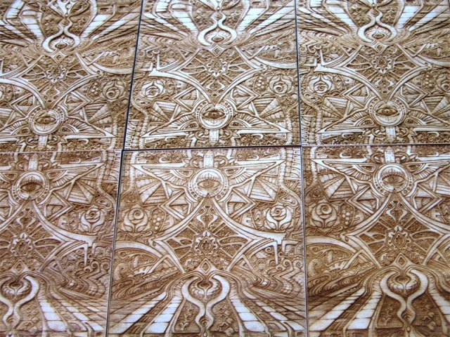 Laser etched wood art print 'Creation Nexus' collaboration between artists Laura Borealisis and Fabian Jimenez