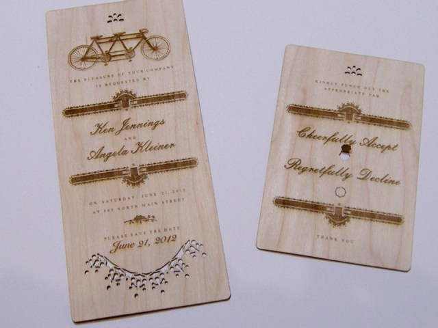 Walnut laser cut wedding invitation and reply card