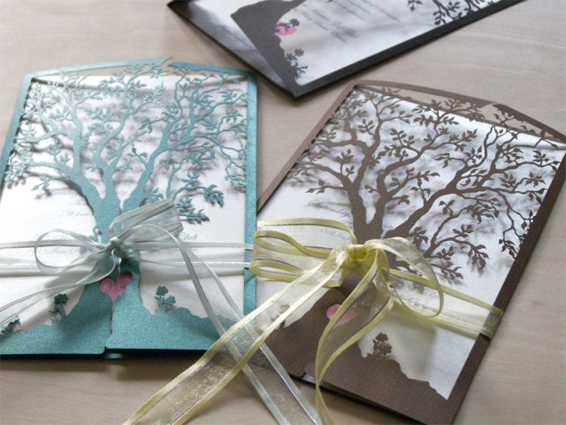 Love Tree laser cut wedding invitation and reply card