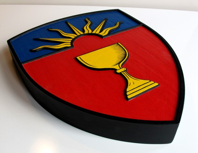 Laser engraved and hand painted solid maple crest for St. Augustine's Seminary -4.