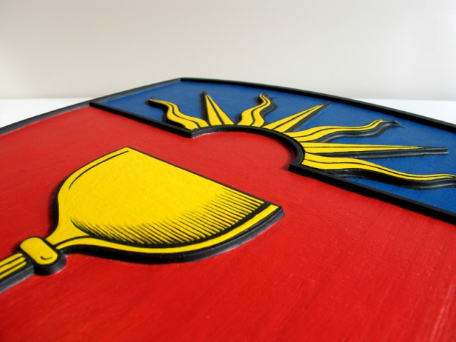 Laser engraved and hand painted solid maple crest for St. Augustine's Seminary -2