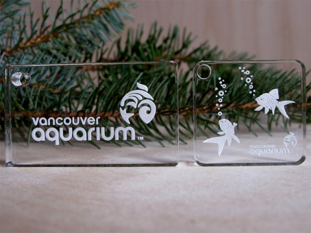 Example of laser etching on acrylic for the Vancouver Aquarium