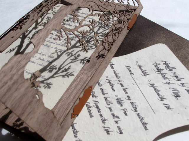 Closeup of 'Love Tree' Walnut Wood laser cut wedding invite