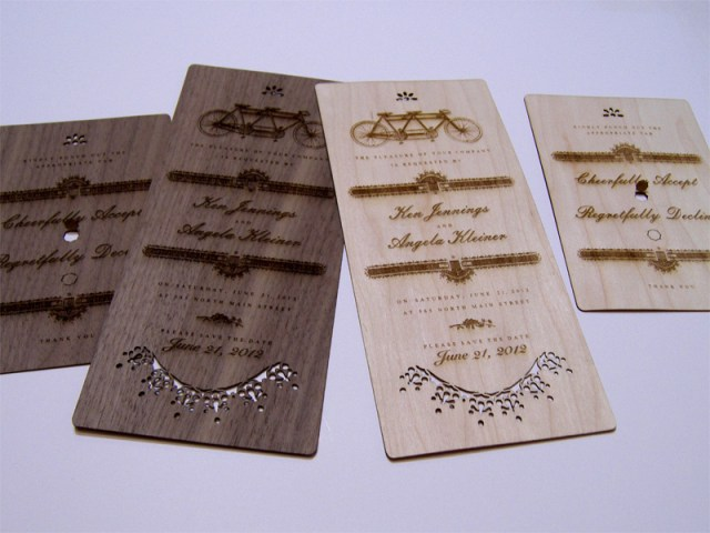 Walnut and Maple wedding invites and reply cards