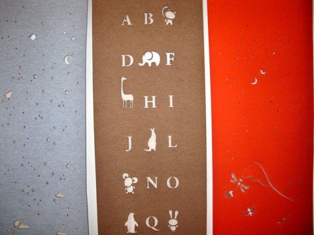Laser cut merino wool felt window coverings for kids rooms, detail of starry night, alphabet animals, and fairy dance window coverings