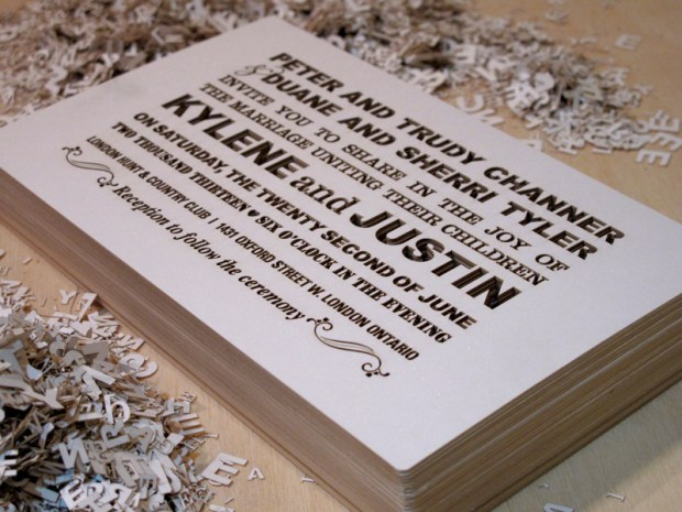 Fifth shot of Custom Fontography design laser cut wedding invitations