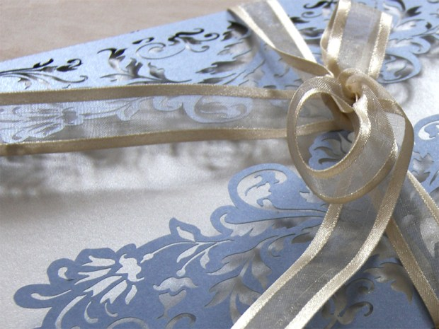French Flair laser cut wedding invitations in periwinkle blue 1