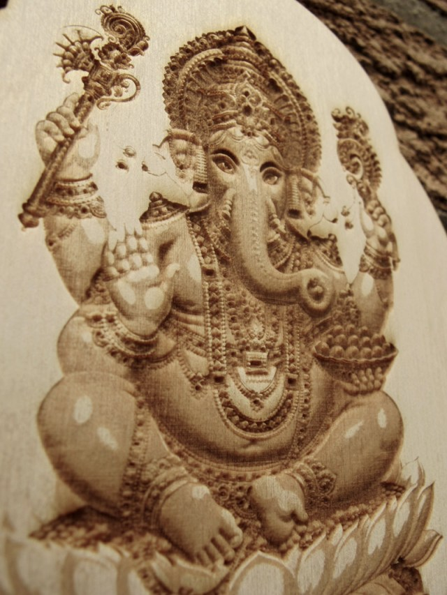 laser engraved ganesha wall hanging