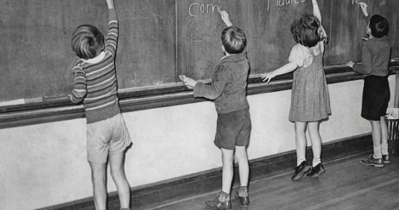 kids on blackboard
