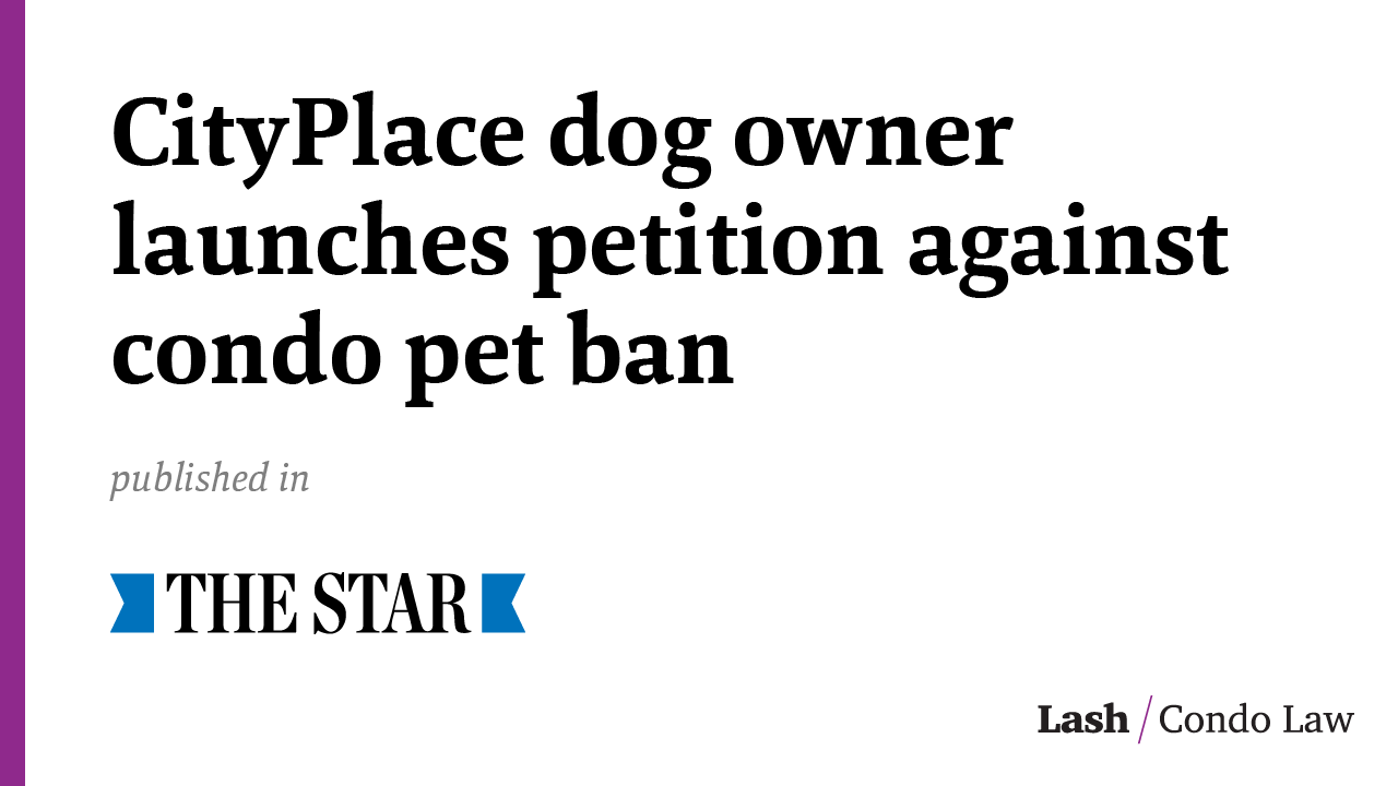 Img_CityPlace dog owner launches petition against condo pet ban