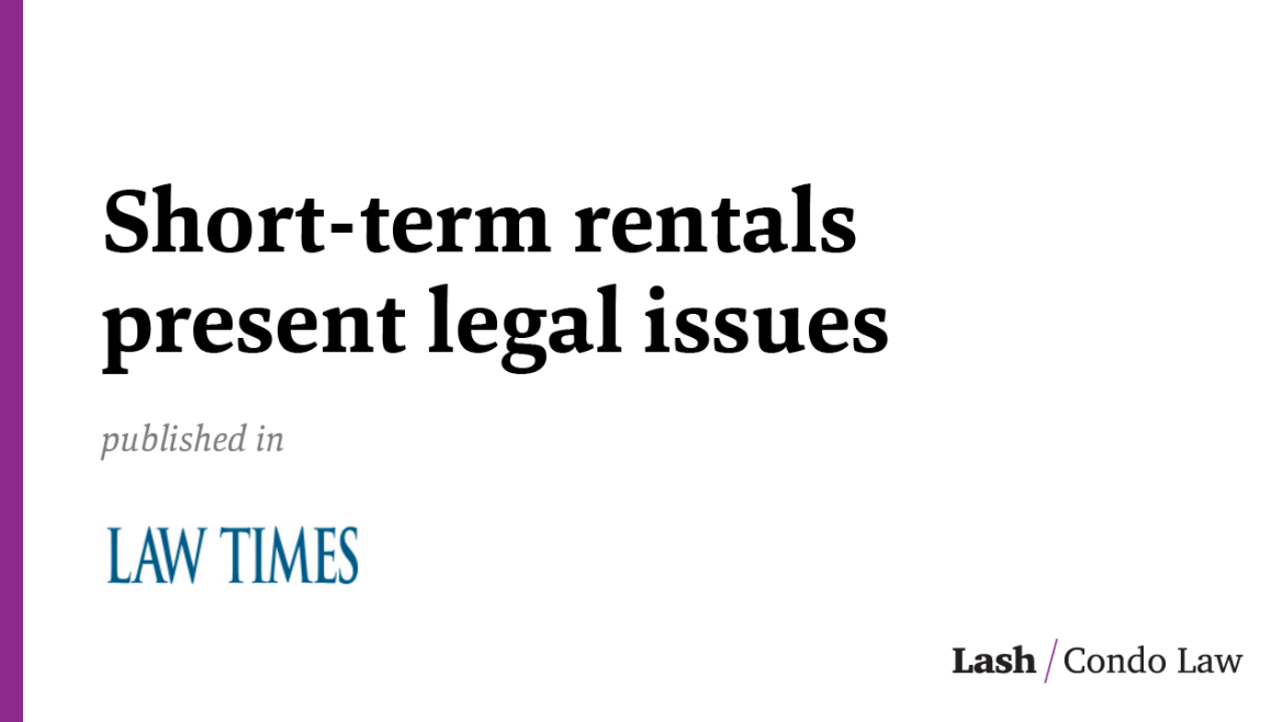 Short-term rentals present legal issues