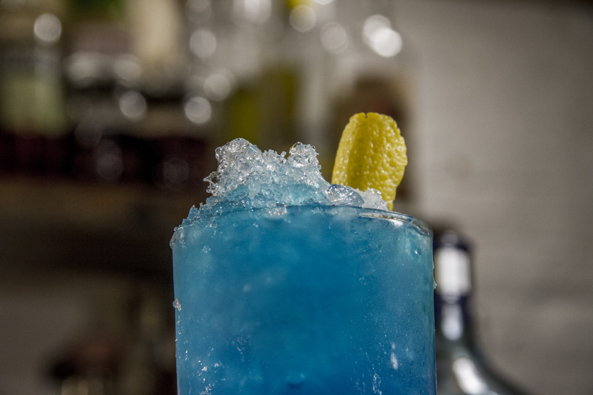 Finished Blue curacao cocktail Close up