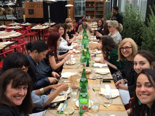 The entire group at lunch Birreria - located on the top floor of Eataly