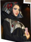 Abaya Designs with pretty silver and red flowers