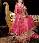 Pink walima dress for brides with heavy work