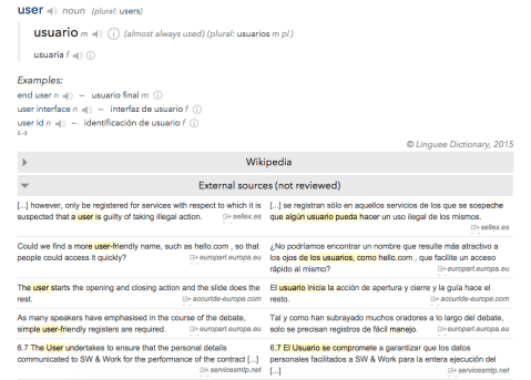 """Figure 13. Sentences translated to Spanish containing the English word """"user"""" (various sources)"""